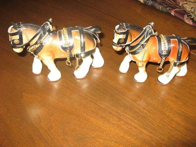 TWO PORCELAIN DRAFT HORSES IN FULL HARNESS - NICE XMAS GIFT