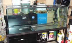"""110 gallon aquarium with dimensions of 60"""" X 18"""" X 24"""" LXWXH wrought iron stand Fluval 404 canister filter 48"""" T5 fixture Glass canopy   Also Have the following   Coralife 125gallon protien skimmer - $75 Coral life power compact 30"""" fixtures with old"""