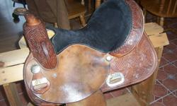 15 inch circle Y barrel saddle for sale, used but still in really good shape, reason for selling is changing disciplines, $800 or may consider trade for reining saddle.