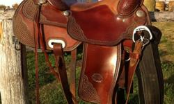 """We have a 16"""" Authentic Billy Cook Pro Reining Saddle for sale. Made in Sulphur Oklahoma. It is in excellent condition. Comes with a new black Pro Choice cinch and a back cinch. Smooth seat. Soft leather. Like new condition. Asking $1500 (sells for $2400"""