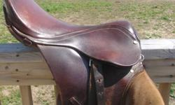 """I'm selling my 16"""" all purpose english leather saddle. good condition, just sitting in my basement, comes with leathers, stirrups, saddle pad..Paid over 500. I'm asking $200.00 Can deliver in the Hamilton area. Need Gone ASAP. Thanks"""