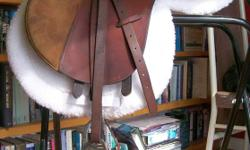 """For Sale or Trade   Union De Solaires Argentinian Made English AP/Close Contact Saddle. Medium Tree Seat SZ. is 16. Gullet approx- 3"""" Colour -Brown/Tan w/suede knee blocks   Has some scuff marks. Panels were replaced by Amish a few years ago. Tree is in"""
