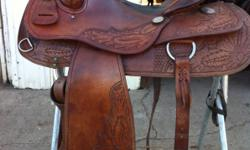 """Best Christmas present!! 16"""" Reining saddle purchased at Paul Taylor's in Texas. Retails for over $2000. A steal at $650 780-884-4311 This ad was posted with the Kijiji Classifieds app."""