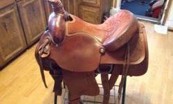 16? American Saddlery Circle A Roping Saddle Not a cheap light saddle, right up there with Billy Cooks, heavy saddle, 38 lbs, 16? seat, with 8? wide gullet, very good shape, just broke in saddle, rope calves, cows, bulls, horses, anything you want
