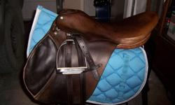Holberg spring seat saddle. Medium tree. Good used condition but could use re-stuffing. Comes with leathers and irons. $200.