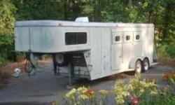 1994 Gooseneck trailer, 3 horse slant, torsion axels, great shape, original paint, no rust at all, everything works, just inspected. It has  living quarters in front with bed fridge, stove, sink and heater, tack room in rear with 3 saddle racks, this can