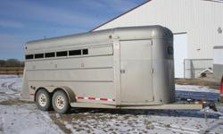 We have one 1999 southland horse trailer for sale. It is a 3 angle haul with removable panels. With the panels removed you can haul 5. The trailer has a front tack, 2(6000lb)axles, recent repacked bearings,plywood walls and rubber matt flooring. The