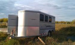 In very good condition. A little damage from kicking horse in second stall but nothing serious. Used maybe a dozen times. Pictures to show floor there are rubber mats. Email if you would like more pictures.