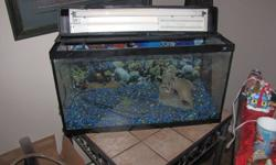 """29 gallon tank no leaks, I have just upgraded to a bigger one. 30"""" long by 16"""" high 12 1/2"""" wide Included a few accessories rocks, a box of liquid care products, ballaster, a new $20 light bulb, no heater, no filter, emptied and ready to go. Pick up in"""