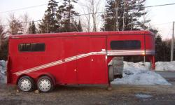 "EXCELLENT CONDITION-1996 BELORE 2 HORSE GOOSENECK TRAILER.  RAMP LOAD, 3' WALK THROUGH IN FRONT OF HORSES, 82"" FROM RUBBER FLOOR TO CEILING.  84"" FROM CHEST BUMPER TO REAR OF TRAILER.  4' TACK ROOM UP FRONT WITH 2 SADDLE RACKS & 6 TACK HOOKS(LOTS OF ROOM"