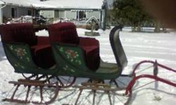 Rare 2 seat bobsleigh built by the Armstrong Carriage Co. in Guelph Ontario over 100 years ago. This is a rare sleigh in original and excellent condition and has never been touch except for the upholstery and paint about 20 years ago. It has been used