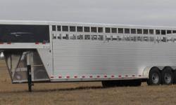 "YEAR END BLOWOUT SALE ON ALL OUR ALUMINUM TRAILERS!   Here's a a good high quality 32 foot aluminum stock trailer  ON SALE FOR ONLY $21,495.00!   32' long x 6' 8"" wide x 7' tall. 21,000 GVWR Siding Height & Style: 57? Aluminum Sides 8? Interlocking"