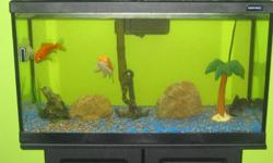 For sale 33 gallon fish aquarium.  Complete with lid, light, canopy, heater, filter and stand.  Also includes 4 fish and all decorations.