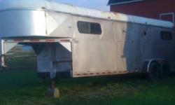 For sale: 4 horse gooseneck, dressing/tack room, good rubber, solid floor, lights all work, pulls straight, ramp just rebuilt, side load, never had a horse not load onto this trailer, good shape just needs alittle tlc. Sold as is. Just hauled it last