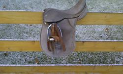 """GREAT SHAPE I have a older grey all purpose English Saddle for sale (its not pretty but it works),  I think that it is a 16"""" or bigger but I'm not really that sure ... I used it for 4-H and no longer need it .. Please Text / email / or call and make me an"""