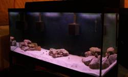 120 Gallon Aquarium 60X18x25 Braced with black silicone edges,Metal Stand and Glass Lids only. All bought new less than 2 years ago. 350$. Aquaclear 70 Powerhead circulation pump, Aquaclear 50 Powerhead circulation pump, Top fin small circulation pump.
