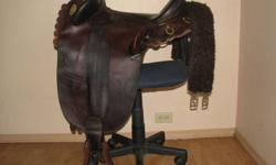 Aussie saddle made from James saddlery in Brisbane Australia. ORD river collection, Cattle camp poley. It is a 18 Aussie or a 16 western seat, comfy for long or short rides. Originally bought and used for my ex, this saddle is too big for me, it fits a