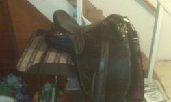Black Australian saddle brass attachements no horn Included with saddle: Australian pad (forest green with black fuzzy edges, thick felt) Stirrups/leathers Girth & overgirth Martingale/breast collar western girth converters for $25 extra if so desired