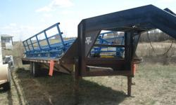 """* bale hauler...24ft flatbed gooseneck trailer ,2-7000lb axels $6500.00 OBO *28ft trihaul bale hauler,self unloading,no welds or bends,like new,hauls 14 rounds..$6500.00 *Also 3 30ft hd cattle wind breaks built out of 3"""" tubing= OFFERS *new holland h8040"""