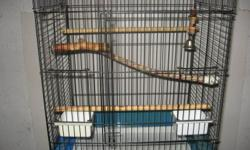 """I used to raise lovebirds but had downsized- I have one bird cage and stand 1/ white cage and stand is brand new- size 19""""wide-20"""" high and 12"""" deep comes with perches-dishes and stand also for $ 40.00"""