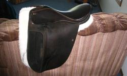 "17""  medium/wide tree, German made excellent quality english saddle. In verygood condition. One owner, paid $2000.00 asking $450.00.  Phone calls only emails will not be responded to.  403 886 5359"