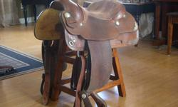 """I have for sale a like new 16"""" Blue Ribbon Western saddle.  Blue Ribbons saddles are built for comfort and to last, once you have one ride in this saddle you will be in love!  The saddle is a beautiful dark leather and has always been well taken care of."""