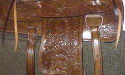 """Brand New 13"""" Western Show Saddle  Never been On A Horse, Right Out Of The Box. Suede Seat , Fully Tooled, All So A New Top of The Line 28"""" Cinch ( Not String) Purchased Separately.  Will Fit A Pony Or A Horse By Adjusting Cinch Size   If You Have Been"""