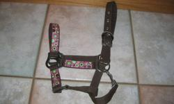 I am selling a brown and pink pony halter with a pink lead.  I only used the halter once or twice so it is almost brand new.  Both are good quality and in good condition.  Asking $20 for both.