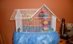 Rare style bird cage for sale comes with toys,  food dishes, budgie food, gravel and a thing that goes around the bottom to keep the bird seed n shells in the cage! All for $40, a perfect starter kit! Has been cleaned and sanitized looks Brand New! please