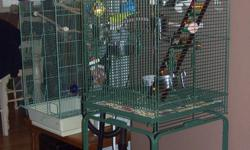 I have some bird cages for sale. 1 smaller and a few large bird cages. Picture #1 - Dark Green Cage. I have 2 of these. They are both brand new. Never been used. $80 each. Picture #2 - This cage is brand new. Never been used. I paid $400. SOLD Picture #3