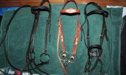 This is only some of the items that I am selling. Have wayyyy too much stuff. Will post more once I sort through everything.   SOLD  Billy Cook Basket Weave Rawhide Lace Headstall with a fancy snaffle bit...only used a few times...$70. Nurtural Bitless