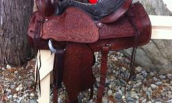 """~Christmas Special~ $1,000 free shipping 15"""" Red Ranger saddle. Fully tooled, all leather. About 40 yrs old, in excellent condition with no marks or scratches. Very well looked after. Has 7"""" gullet, solid horn & tree. Well made saddle. Has #918 on back."""