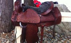 "Beautiful 15"" Vintage Red Ranger saddle. Fully tooled, all leather. About 40 yrs old, in excellent condition with no marks or scratches. Very well looked after, kept indoors. Has 7"" gullet, solid horn & tree. Well made saddle, made to last. Has #918 on"