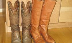 Ladies' high top size 71/2 narrow width custom made leather cowboy boots with a riding heel. Both pair were made by the Alberta Boot Company in Calgary.  One pair has been well used and the other is in new condition.  My feet have grown longer and wider