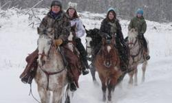 Just Enjoy winter riding in its breath taking beauty!  Just Ride on our ranch trails  Just Play games on horseback  Just Lounge around in a big PJ party in the Cowgirl Bunkhouse The Great Canadian Cowgirl Experience! We provide awesome horses, western