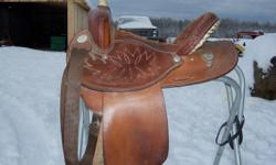 "15'' Dakota barrel saddle for sale. 5"" cantle. Deep seat. Contact us via e-mail or phone Ash  at 705-477-9225."