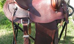 """1 Eamor """"Western Classic"""" saddle. 15"""" seat, double rigged. Mint condition. $1200 1- Cloverbar saddle, 15"""" seat, older saddle in good usable shape. $150 please call 780-913-0810"""