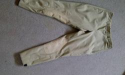 Hi there, Looking to sell my elation Breeches.Bought them for $80 at greenhawk, asking $40 OBO. They are size 30, not sure about length. Cream colored, no stains, only worn once, looks brand new.Pockets on front, zipper on side, belt loops,