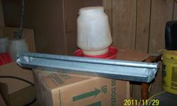 for sale water jugs feed trays.  feed pails and or complete feed line with nipple water line.