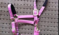 -New, Med/Full size Pink. Used twice. Adjustable nose & throat latch. $35 -New, Med size Turquoise. Used once. $20 -Full size Green/Black rope halter. In new condition. $15 - Med size Blue rope halter. $5 ~Can deliver to GP end of December or can ship at