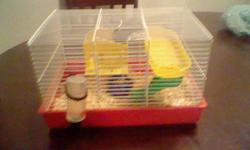 Selling my hamster! *****SALE*****  Cost of items: Bedding : $4.50 Food: $3.50 Cage:$10 (Other cage) $10 (((((********I'm asking for $30!!***********)))))