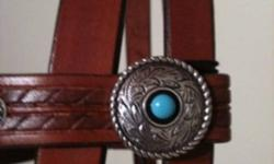 Super, handmade bridle with unique turquoise conchos. Great for a barrel racer or lady rider! Very well made, not the kind of thing you find in a big box store. Lots more available! This ad was posted with the Kijiji Classifieds app.