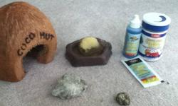 I am selling my small hermit crab along with his food and water supplies, a small coconut hut, some sand and some mulch. You must have your own aquarium and a light for him. I suggest a hermit crab as a pet for children because it can be handled and is