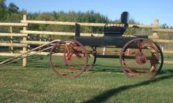 4 wheel horse drawn buggy. Suitable for standard size horse or large pony. comes with shafts for single pull. Has a brake and is legal for road use. In good condition. $1,000. Cob size, breast collar harness also available. $300. Also for sale: Custom