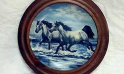 Horses in Action the Challenge. Nice hanging plate in a round oak frame. Excellent condition.Ad will be removed once sold.