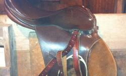 """English all purpose leather saddle with suede knee rolls. Comes with stirrups & leathers. 15"""" seat. 5 1/2 gullet. Med width. Good shape no tears. $220 obo Show black jacket blazer never used, like new. Only tried on. Never left the house... Size large."""