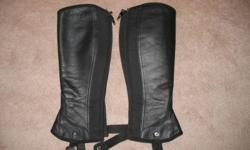 We have the following riding items for sale:     1. Tuff Rider winter breeches, fleece lined, size childs 14.  $10   2. Mondega black leather half chaps, ladies small. worn only couple of times for show then she got field boots and has out grown them.