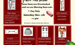 Overstocked Inventory Blow Out Sale 1 Day Only Saturday Nov 26th 9am-8pm   We are 3 Miles West of NANTON on Hyw 533 to RR 290 turn right~1st place on left http://www.samswesternoutlet.ca