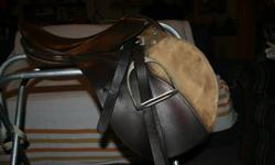 "Kiefer English Saddle 15"" seat suade knee rolls, in good shape with leathers and stirrups(striups not great but very functional) Asking $150 OBO. Also have two other english saddles 17"" $70 and 18"" $295, bridle, breast collar, pads etc. downsizing. Will"