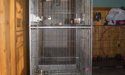 """I have a large Prevue bird cage for sale (width: 31 x depth: 21, height 53"""") which includes water and bath dishes, quality stainless steel food dishes, bird swings, wooden branch perch, clips for millet or fruit."""